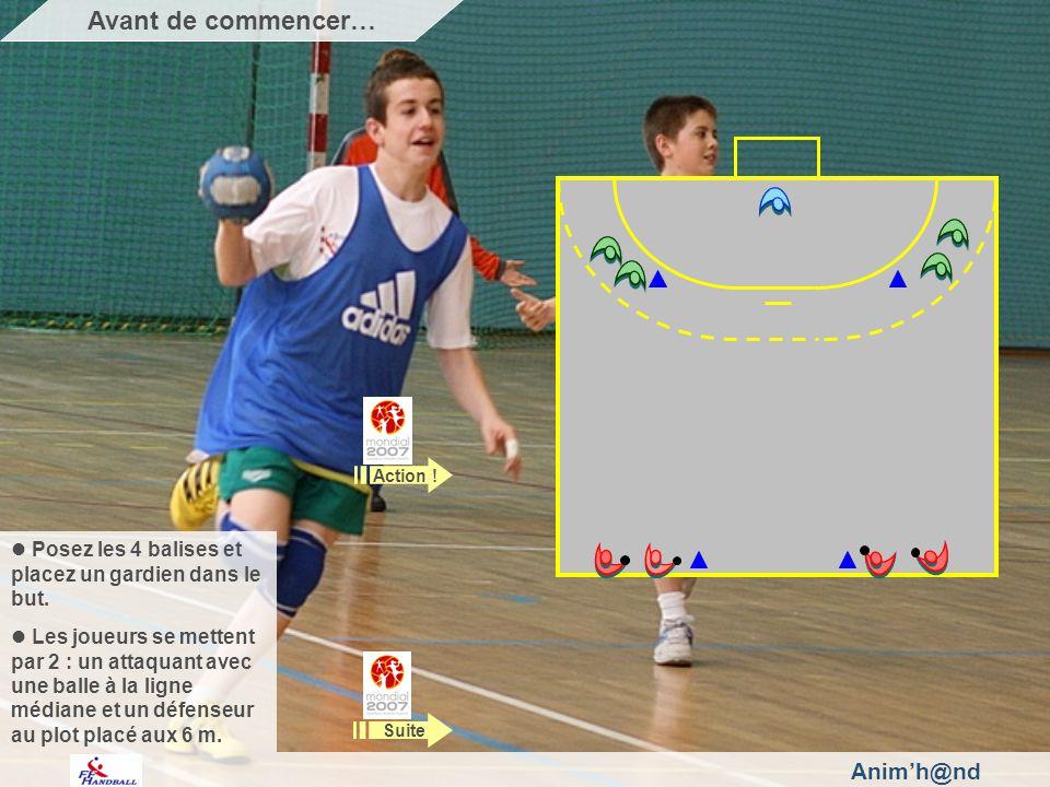 Animh@nd Posez les 4 balises et placez un gardien dans le but. Les joueurs se mettent par 2 : un attaquant avec une balle à la ligne médiane et un déf