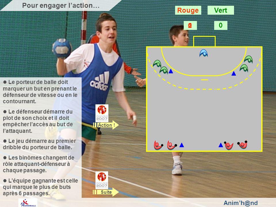 Animh@nd Le porteur de balle doit marquer un but en prenant le défenseur de vitesse ou en le contournant. Le défenseur démarre du plot de son choix et