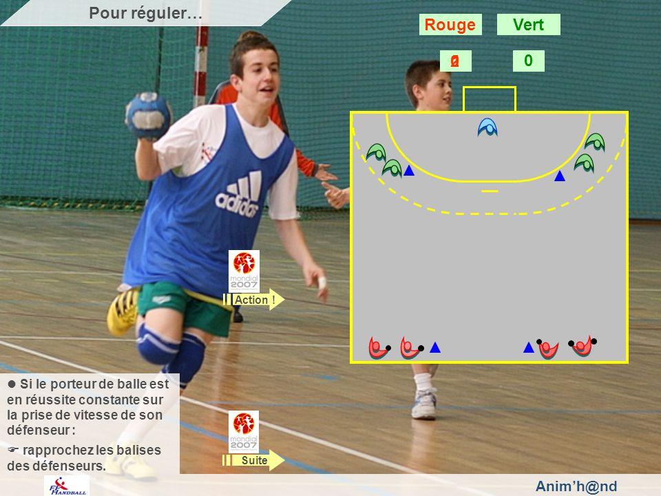 Animh@nd Si le porteur de balle est en réussite constante sur la prise de vitesse de son défenseur : rapprochez les balises des défenseurs. Action ! S