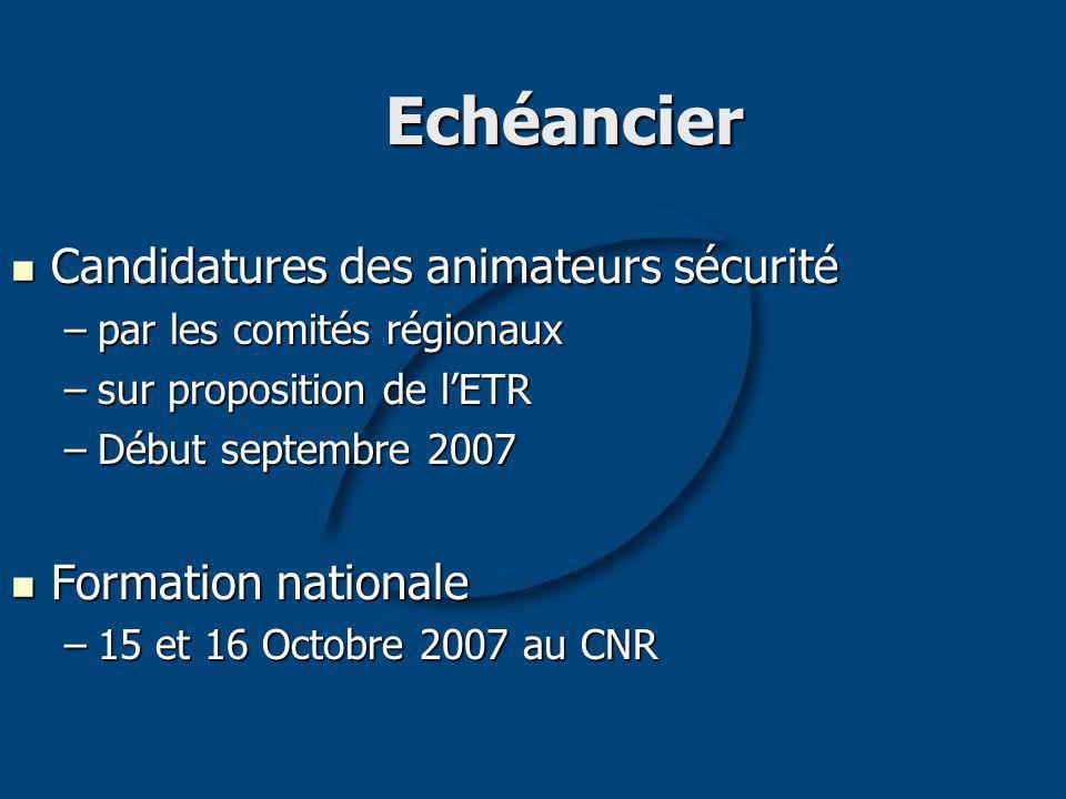 Echéancier Candidatures des animateurs sécurité Candidatures des animateurs sécurité –par les comités régionaux –sur proposition de lETR –Début septembre 2007 Formation nationale Formation nationale –15 et 16 Octobre 2007 au CNR