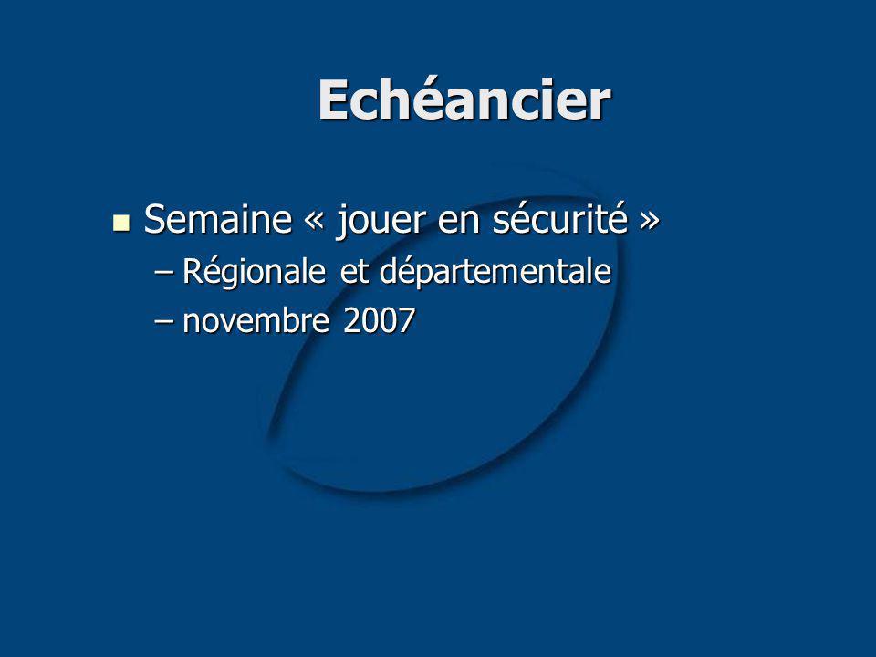 Echéancier Semaine « jouer en sécurité » Semaine « jouer en sécurité » –Régionale et départementale –novembre 2007