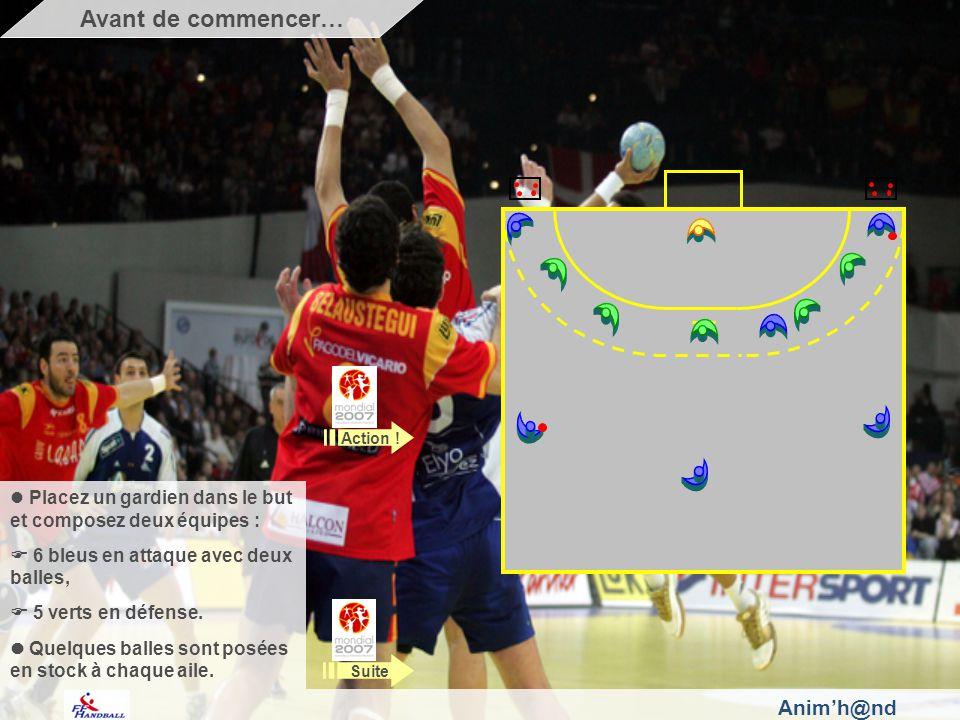 Animh@nd Placez un gardien dans le but et composez deux équipes : 6 bleus en attaque avec deux balles, 5 verts en défense.