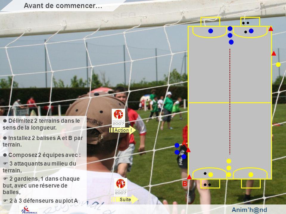 Animh@nd Délimitez 2 terrains dans le sens de la longueur. Installez 2 balises A et B par terrain. Composez 2 équipes avec : 3 attaquants au milieu du