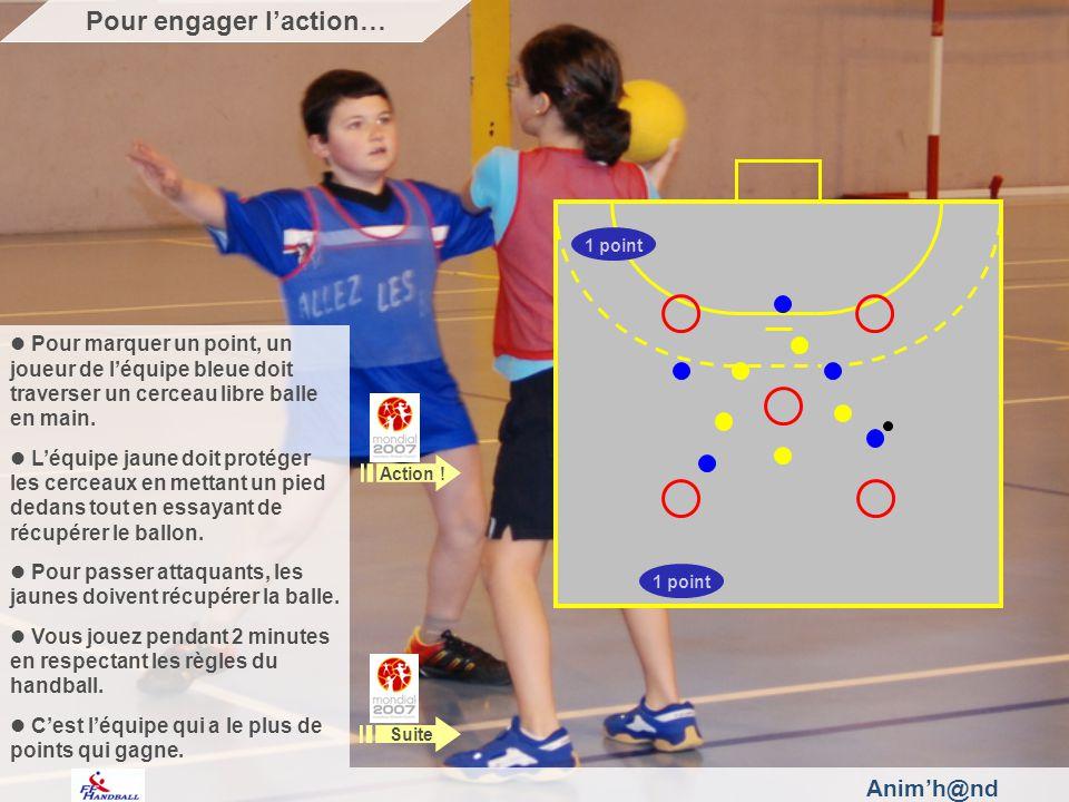 Animh@nd Pour marquer un point, un joueur de léquipe bleue doit traverser un cerceau libre balle en main.