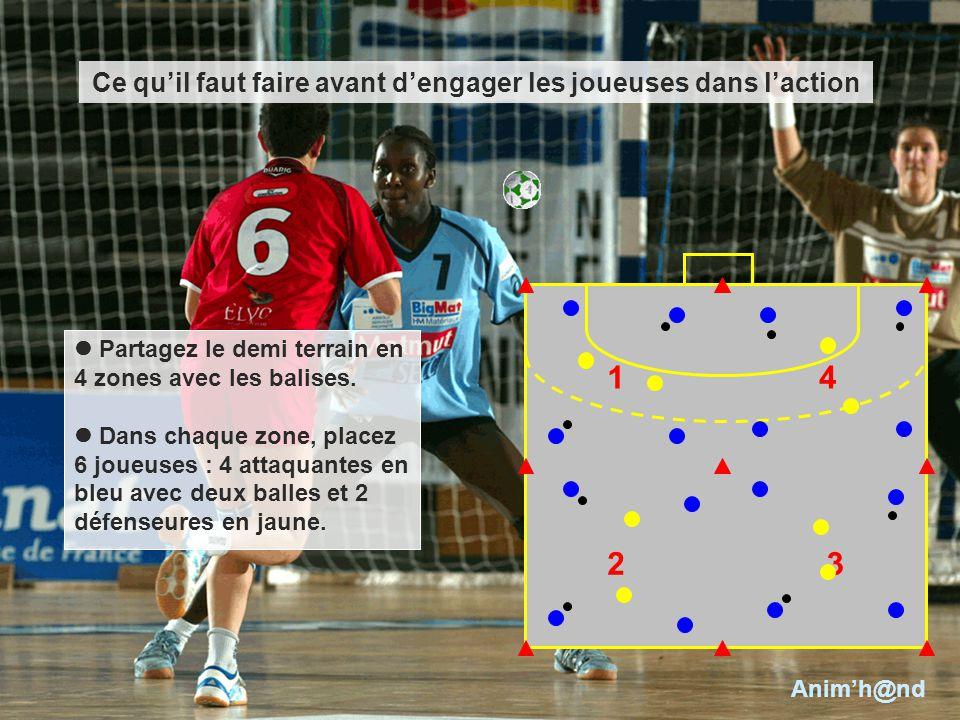 Partagez le demi terrain en 4 zones avec les balises. Dans chaque zone, placez 6 joueuses : 4 attaquantes en bleu avec deux balles et 2 défenseures en