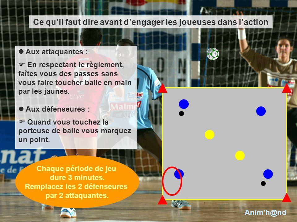 Aux attaquantes : En respectant le règlement, faîtes vous des passes sans vous faire toucher balle en main par les jaunes. Aux défenseures : Quand vou