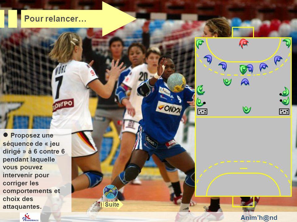 Animh@nd Pour relancer… Proposez une séquence de « jeu dirigé » à 6 contre 6 pendant laquelle vous pouvez intervenir pour corriger les comportements et choix des attaquantes.