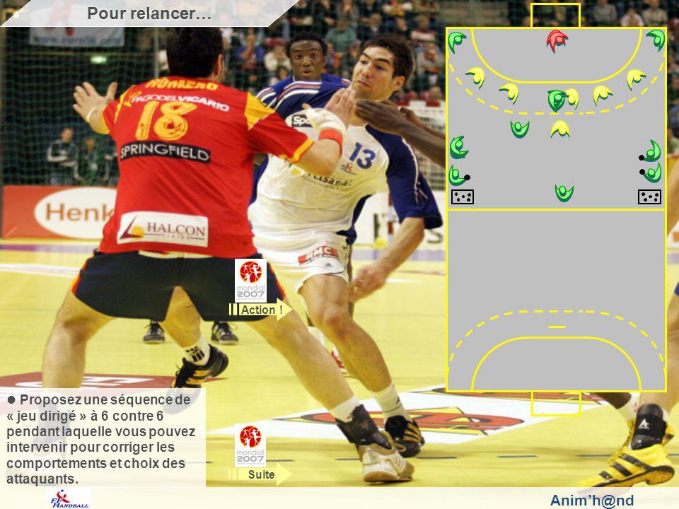 Animh@nd Proposez une séquence de « jeu dirigé » à 6 contre 6 pendant laquelle vous pouvez intervenir pour corriger les comportements et choix des attaquants.