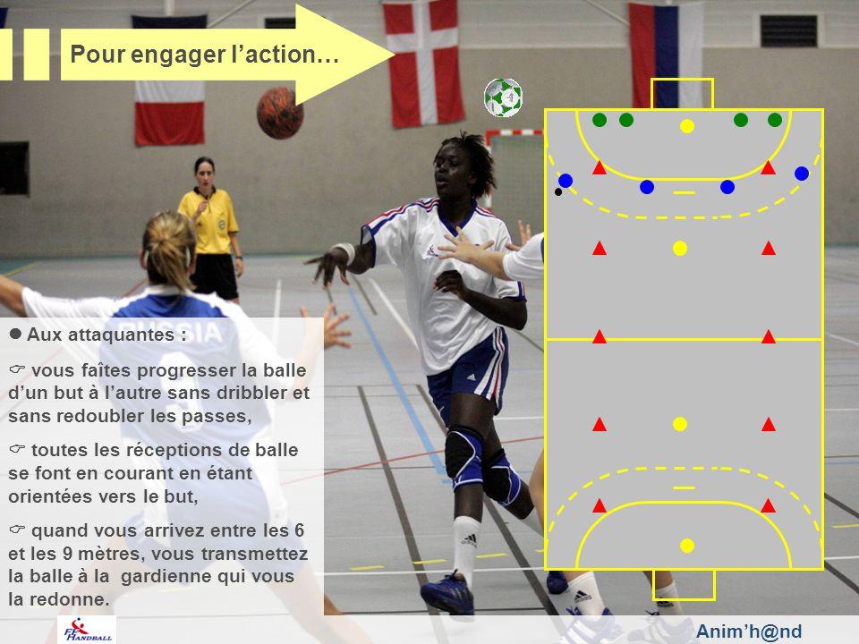 Aux attaquantes : vous faîtes progresser la balle dun but à lautre sans dribbler et sans redoubler les passes, toutes les réceptions de balle se font