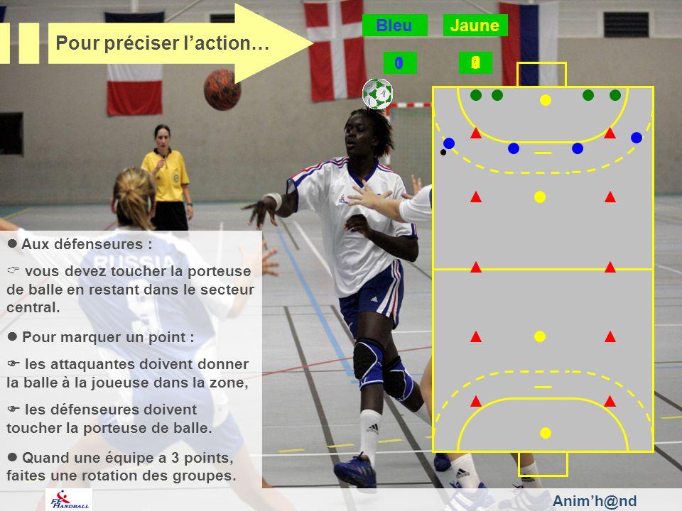Aux défenseures : vous devez toucher la porteuse de balle en restant dans le secteur central. Pour marquer un point : les attaquantes doivent donner l