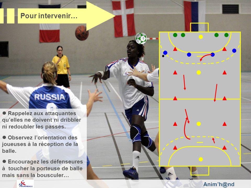 Rappelez aux attaquantes quelles ne doivent ni dribbler ni redoubler les passes. Observez lorientation des joueuses à la réception de la balle. Encour