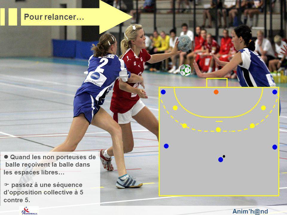 Quand les non porteuses de balle reçoivent la balle dans les espaces libres… passez à une séquence dopposition collective à 5 contre 5.