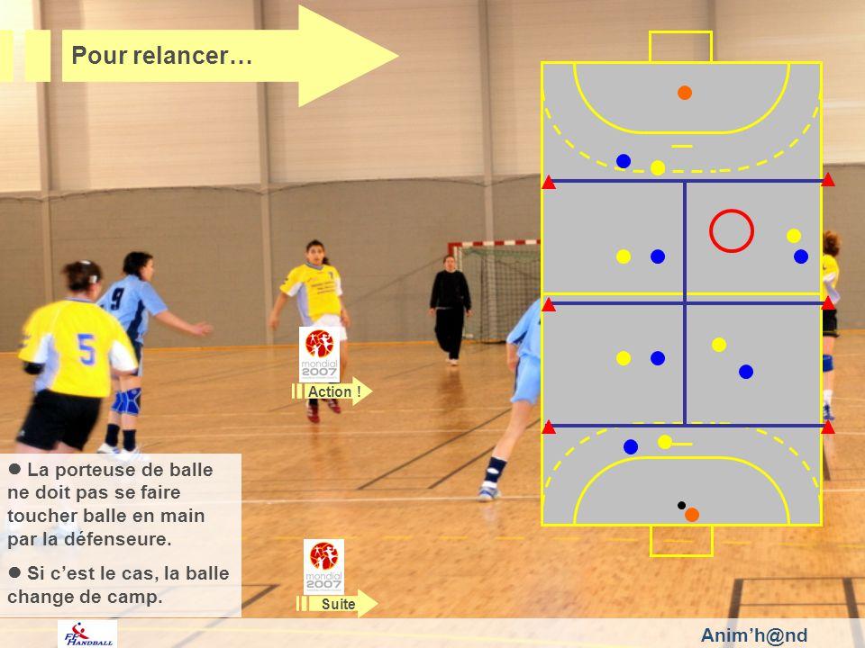 Animh@nd Pour relancer… La porteuse de balle ne doit pas se faire toucher balle en main par la défenseure.