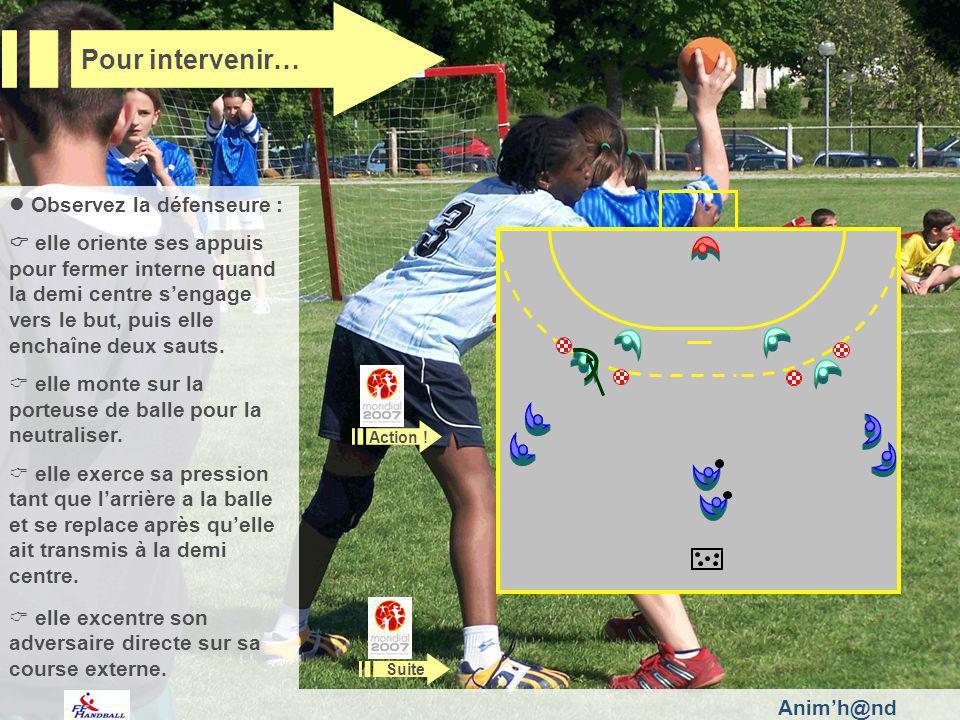 Animh@nd Observez la défenseure : elle oriente ses appuis pour fermer interne quand la demi centre sengage vers le but, puis elle enchaîne deux sauts.