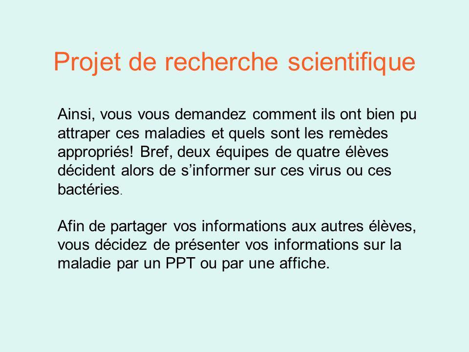 Projet de recherche scientifique Ainsi, vous vous demandez comment ils ont bien pu attraper ces maladies et quels sont les remèdes appropriés.