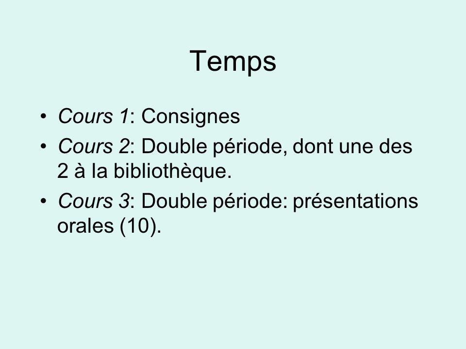 Temps Cours 1: Consignes Cours 2: Double période, dont une des 2 à la bibliothèque.