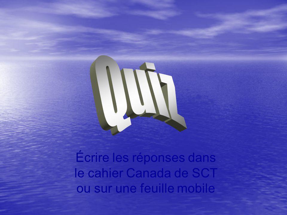 Écrire les réponses dans le cahier Canada de SCT ou sur une feuille mobile