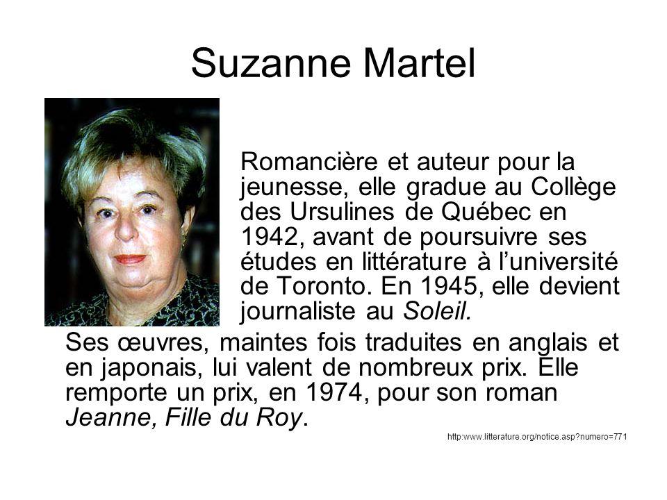 Suzanne Martel Romancière et auteur pour la jeunesse, elle gradue au Collège des Ursulines de Québec en 1942, avant de poursuivre ses études en littérature à luniversité de Toronto.