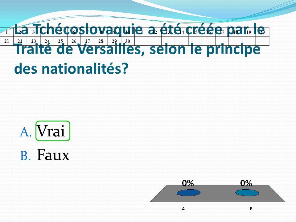 La Tchécoslovaquie a été créée par le Traité de Versailles, selon le principe des nationalités? A. Vrai B. Faux 1234567891011121314151617181920 212223