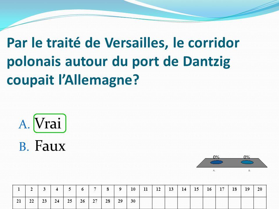 Par le traité de Versailles, le corridor polonais autour du port de Dantzig coupait lAllemagne? A. Vrai B. Faux 1234567891011121314151617181920 212223