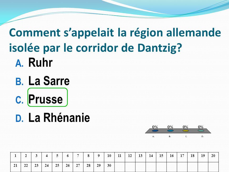 Comment sappelait la région allemande isolée par le corridor de Dantzig? A. Ruhr B. La Sarre C. Prusse D. La Rhénanie 1234567891011121314151617181920
