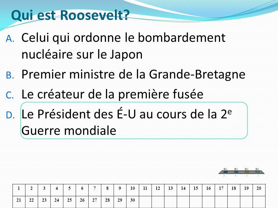 Qui est Roosevelt? A. Celui qui ordonne le bombardement nucléaire sur le Japon B. Premier ministre de la Grande-Bretagne C. Le créateur de la première
