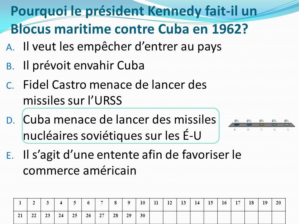 Pourquoi le président Kennedy fait-il un Blocus maritime contre Cuba en 1962? A. Il veut les empêcher dentrer au pays B. Il prévoit envahir Cuba C. Fi