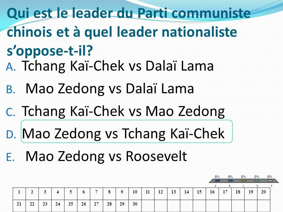 Qui est le leader du Parti communiste chinois et à quel leader nationaliste soppose-t-il? A. Tchang Kaï-Chek vs Dalaï Lama B. Mao Zedong vs Dalaï Lama