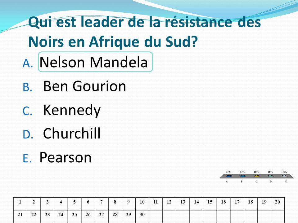 Qui est leader de la résistance des Noirs en Afrique du Sud? A. Nelson Mandela B. Ben Gourion C. Kennedy D. Churchill E. Pearson 123456789101112131415