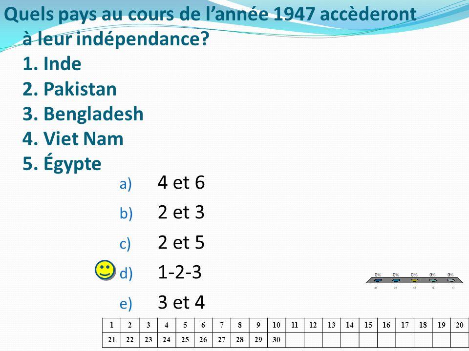 Quels pays au cours de lannée 1947 accèderont à leur indépendance? 1. Inde 2. Pakistan 3. Bengladesh 4. Viet Nam 5. Égypte a) 4 et 6 b) 2 et 3 c) 2 et