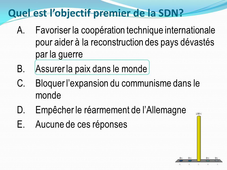 Quel est lobjectif premier de la SDN? A.Favoriser la coopération technique internationale pour aider à la reconstruction des pays dévastés par la guer