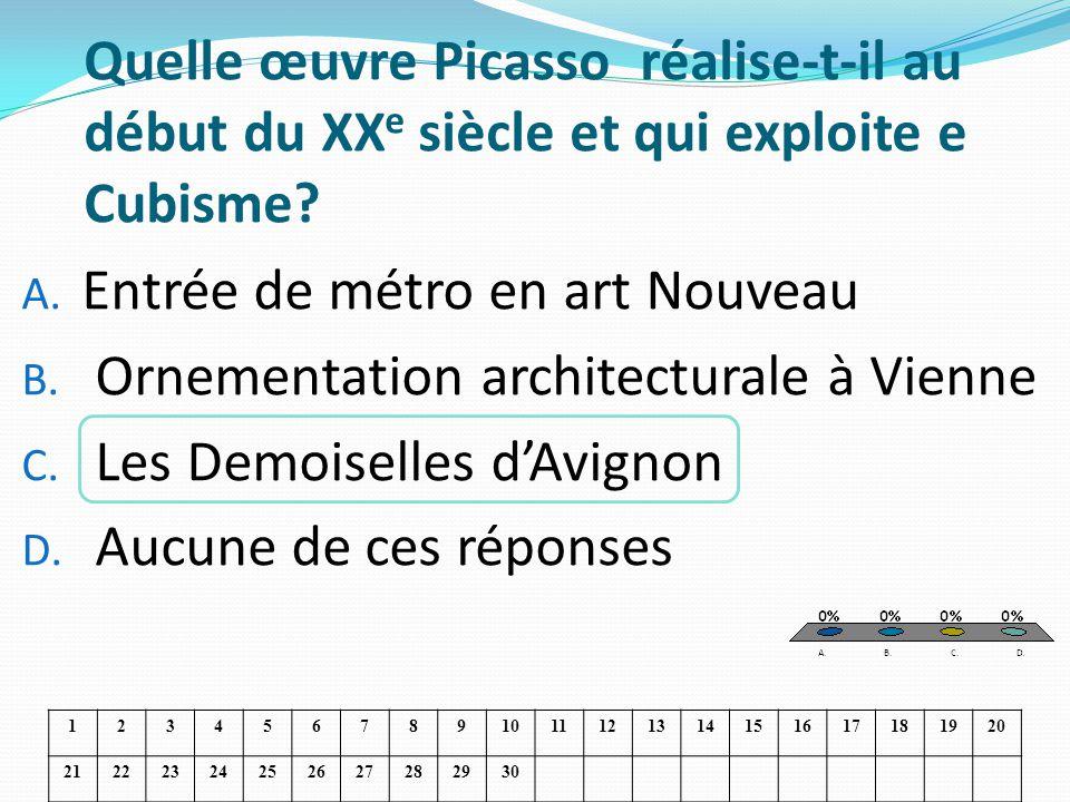 Quelle œuvre Picasso réalise-t-il au début du XX e siècle et qui exploite e Cubisme? A. Entrée de métro en art Nouveau B. Ornementation architecturale