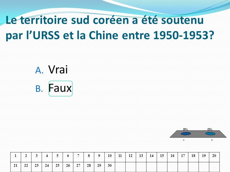 Le territoire sud coréen a été soutenu par lURSS et la Chine entre 1950-1953? A. Vrai B. Faux 1234567891011121314151617181920 21222324252627282930