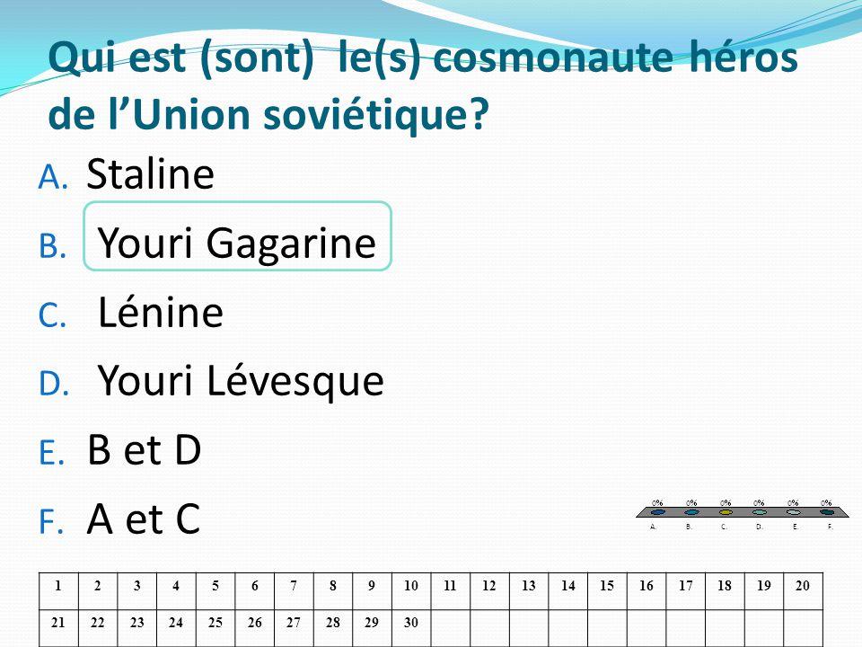 Qui est (sont) le(s) cosmonaute héros de lUnion soviétique? A. Staline B. Youri Gagarine C. Lénine D. Youri Lévesque E. B et D F. A et C 1234567891011