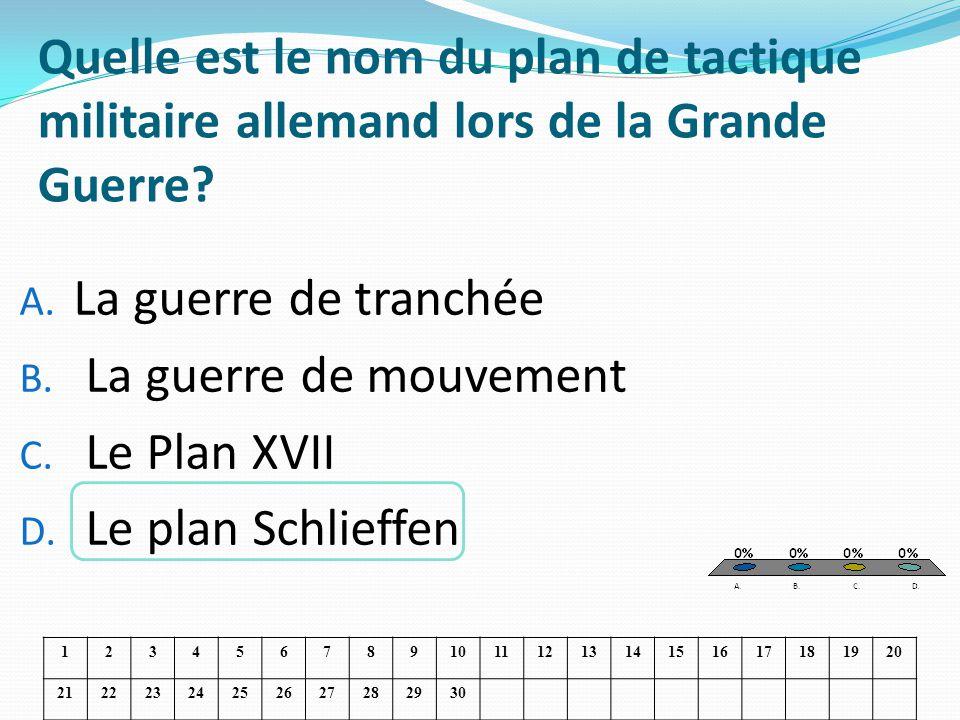 Quelle est le nom du plan de tactique militaire allemand lors de la Grande Guerre? A. La guerre de tranchée B. La guerre de mouvement C. Le Plan XVII