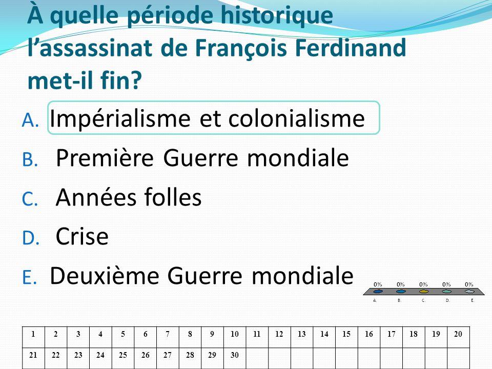 À quelle période historique lassassinat de François Ferdinand met-il fin? A. Impérialisme et colonialisme B. Première Guerre mondiale C. Années folles