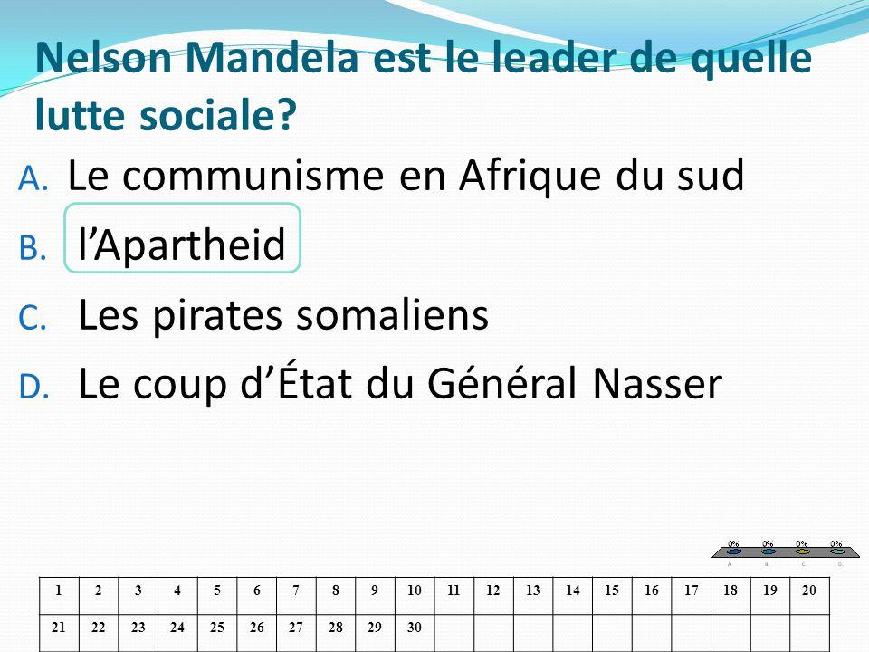 Nelson Mandela est le leader de quelle lutte sociale? A. Le communisme en Afrique du sud B. lApartheid C. Les pirates somaliens D. Le coup dÉtat du Gé