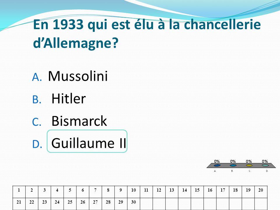 En 1933 qui est élu à la chancellerie dAllemagne? A. Mussolini B. Hitler C. Bismarck D. Guillaume II 1234567891011121314151617181920 21222324252627282