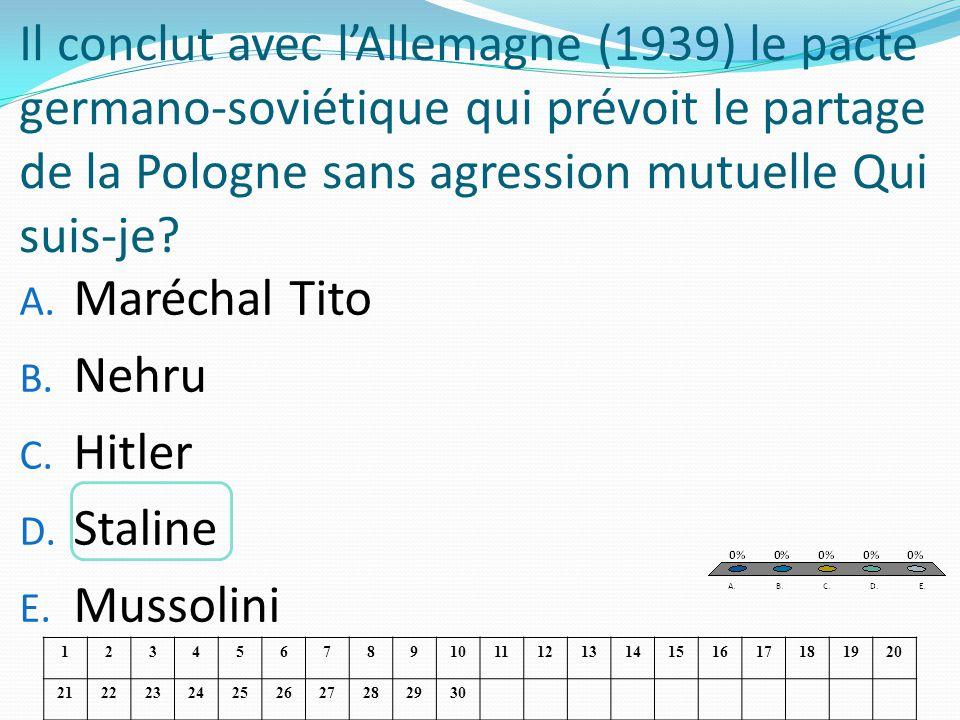 Il conclut avec lAllemagne (1939) le pacte germano-soviétique qui prévoit le partage de la Pologne sans agression mutuelle Qui suis-je? A. Maréchal Ti