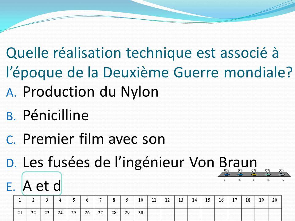 Quelle réalisation technique est associé à lépoque de la Deuxième Guerre mondiale? A. Production du Nylon B. Pénicilline C. Premier film avec son D. L