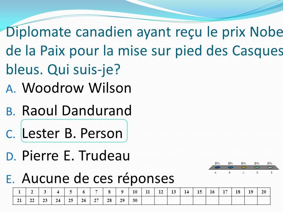 Diplomate canadien ayant reçu le prix Nobel de la Paix pour la mise sur pied des Casques bleus. Qui suis-je? A. Woodrow Wilson B. Raoul Dandurand C. L