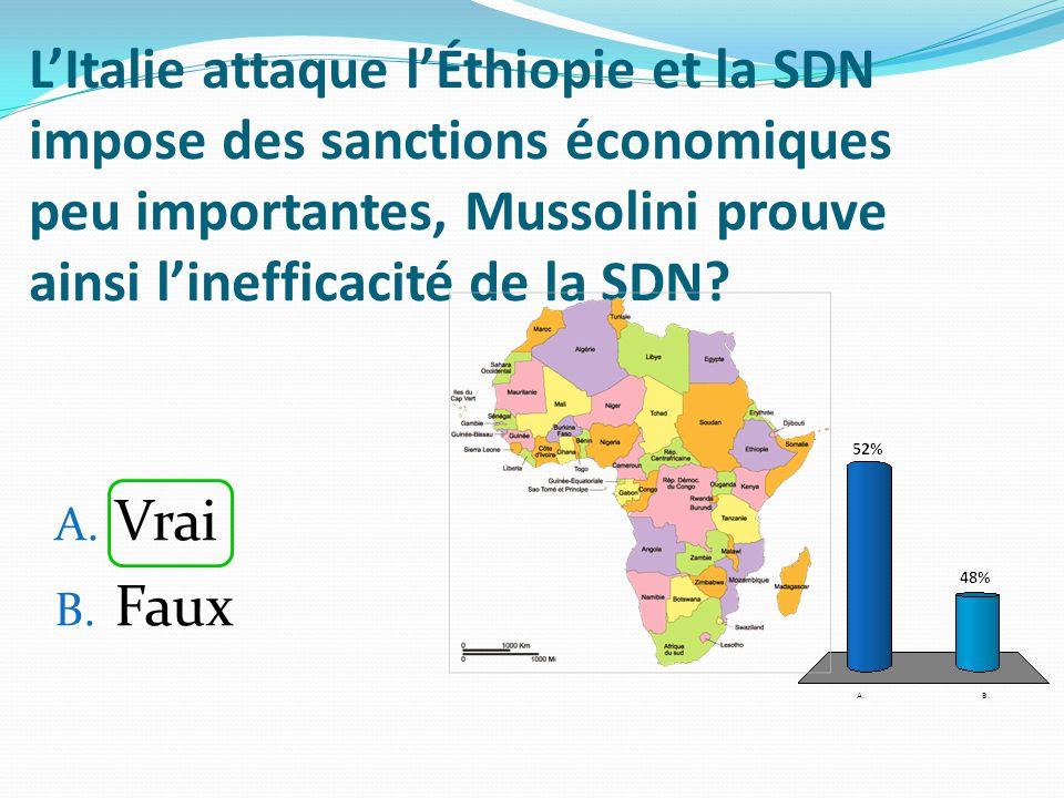 LItalie attaque lÉthiopie et la SDN impose des sanctions économiques peu importantes, Mussolini prouve ainsi linefficacité de la SDN? A. Vrai B. Faux