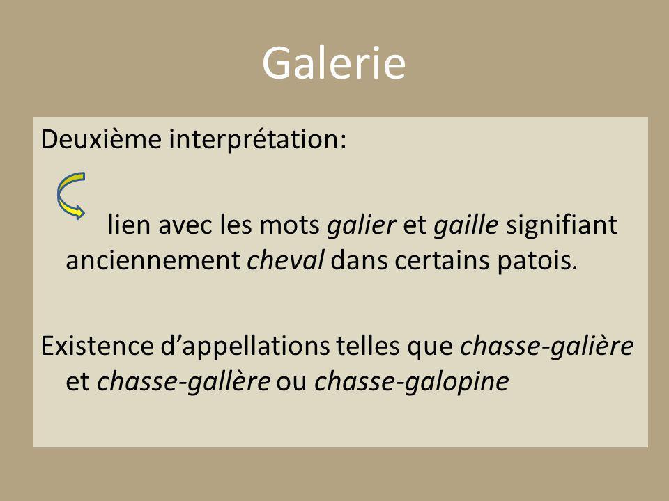 Galerie Deuxième interprétation: lien avec les mots galier et gaille signifiant anciennement cheval dans certains patois.