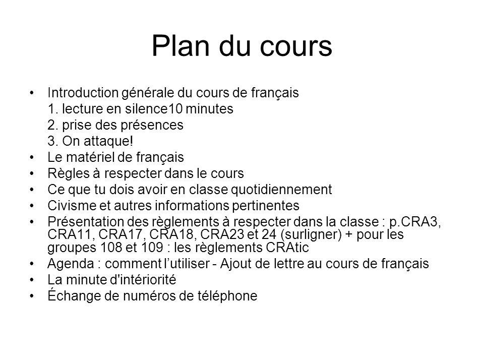 Plan du cours Introduction générale du cours de français 1.