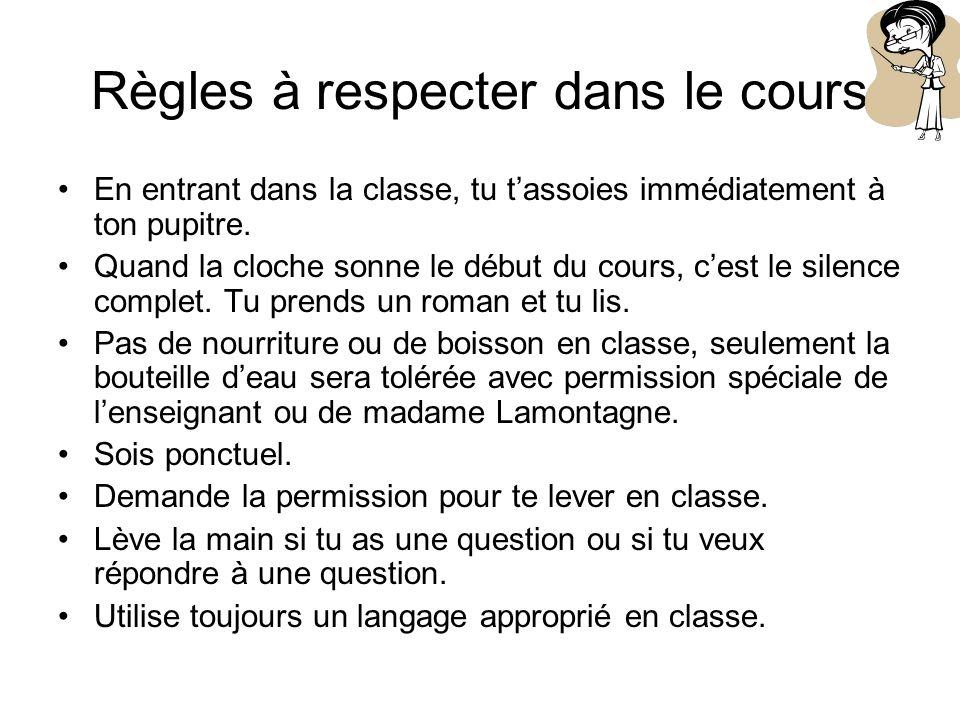 Règles à respecter dans le cours En entrant dans la classe, tu tassoies immédiatement à ton pupitre.