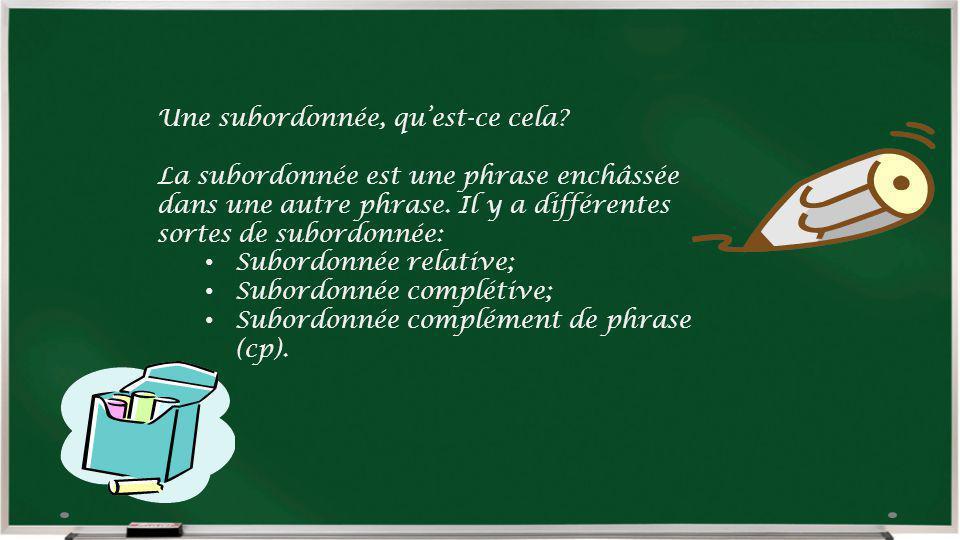 Une subordonnée, quest-ce cela? La subordonnée est une phrase enchâssée dans une autre phrase. Il y a différentes sortes de subordonnée: Subordonnée r