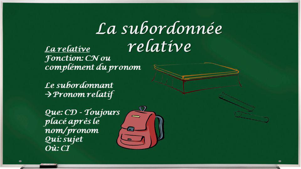 La subordonnée relative La relative Fonction: CN ou complément du pronom Le subordonnant Pronom relatif Que: CD - Toujours placé après le nom/pronom Q