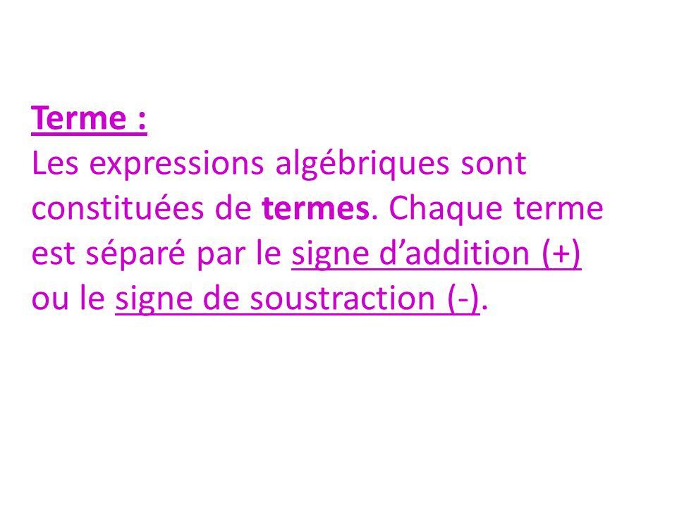 Terme : Les expressions algébriques sont constituées de termes.