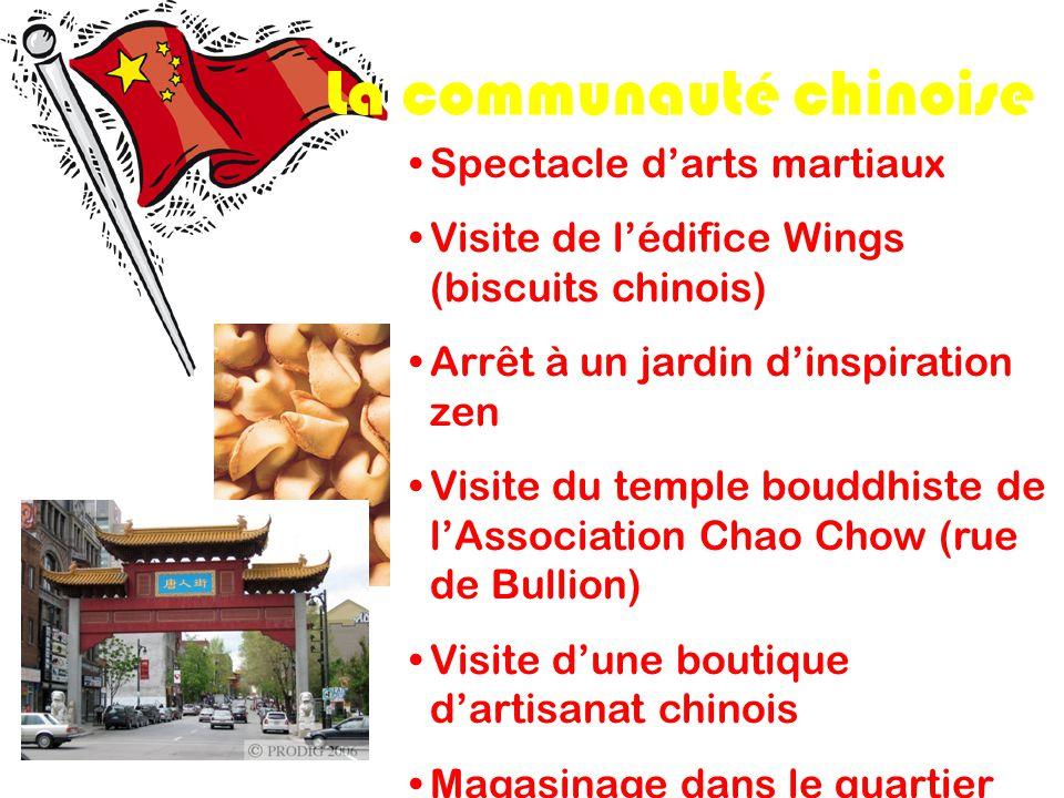 La communauté chinoise Spectacle darts martiaux Visite de lédifice Wings (biscuits chinois) Arrêt à un jardin dinspiration zen Visite du temple bouddh