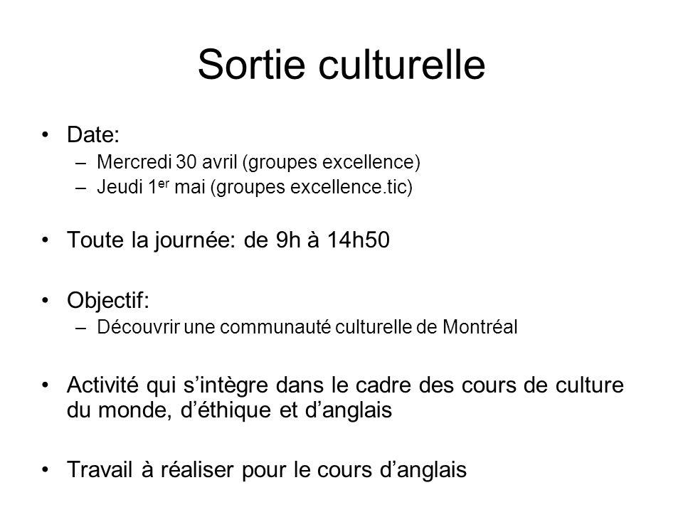 Sortie culturelle Date: –Mercredi 30 avril (groupes excellence) –Jeudi 1 er mai (groupes excellence.tic) Toute la journée: de 9h à 14h50 Objectif: –Dé
